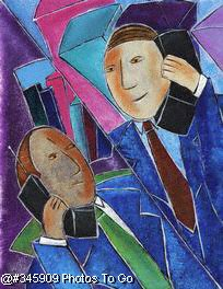 Businessmen on cell phones